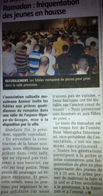 article de la republique - ramadan a la mosquee de la source